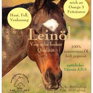 Naturreines Leinöl für Pferde kaltgepresst
